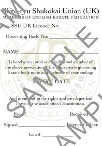 YSSKU UK Licence Slip (Sample)